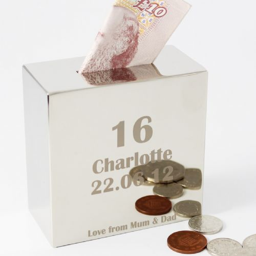Personalised Age Square Money Box